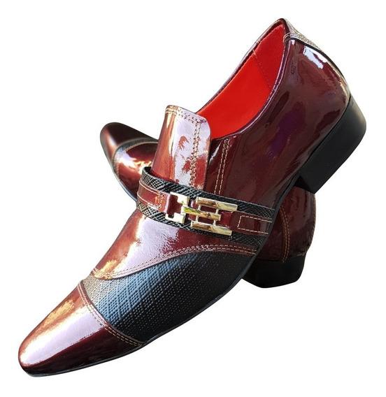 Sapato Masculino Em Couro Bordo Envernizado Cod: 732