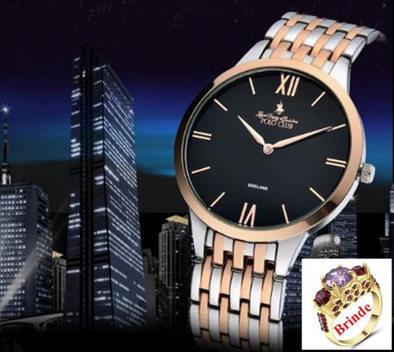 E) Relógio Polo Pulso Luxo Masculino Promoção Frete Grátis