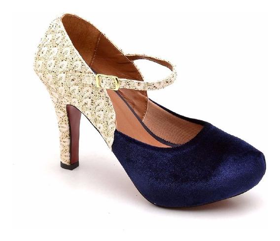 Sandalia Feminina Luxo Dourado Salto Alto Veludo