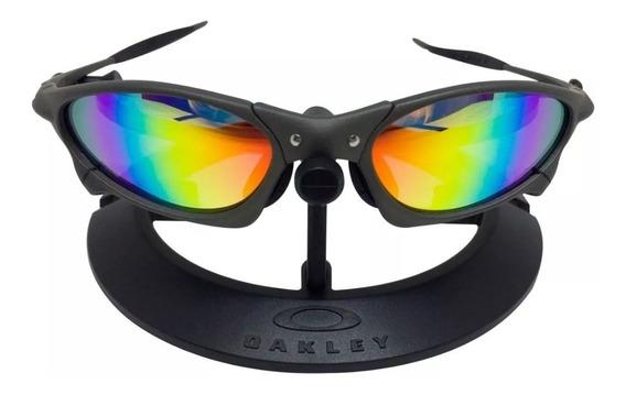 Óculos Oakley Juliet Penny Arco-iris Metal Borracha Preta!!!