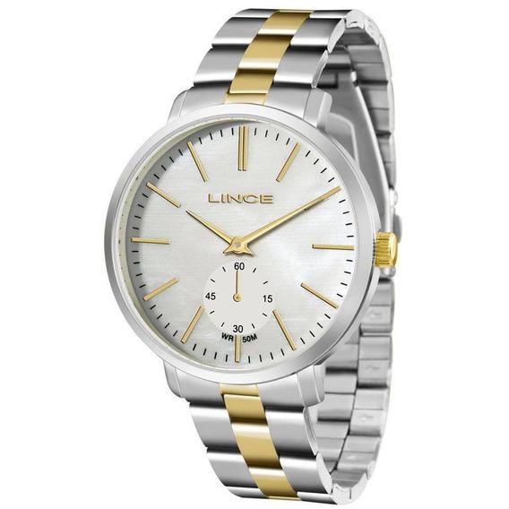 Relógio Lince Feminino Em Aço Bicolor Perolado Lrtj065l B1sk