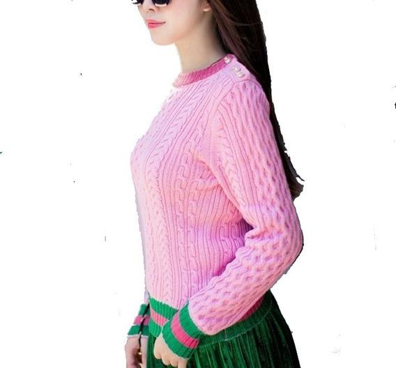 Suéter Rosa Clásic De La Marca Diseñador Gg Envio Gratis Msi