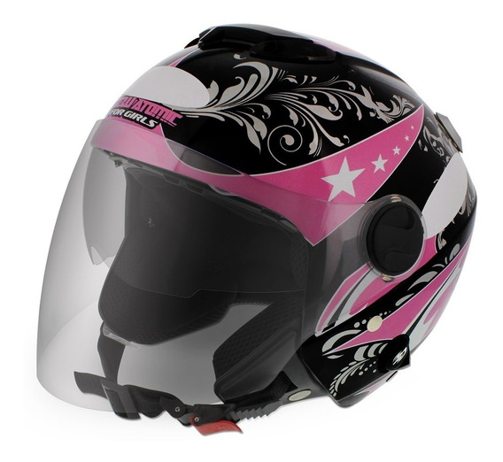 Capacete New Atomic For Girls Preto/rosa