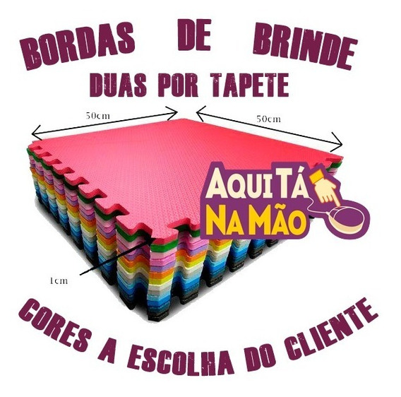 Kit 12 Placas Tapete Ou Tatame Eva Bebe 50x50x1 Cm+24 Bordas