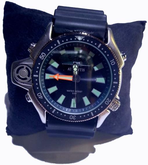 Relógio Atlantis Ana Digi Prata Fdo Preto Puls Borra G3220