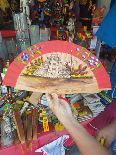 Abanico Madera De Cedro Pintado A Mano Artesanía Tajin Gde