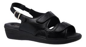 Sandália Feminina Esporão Em Couro Preto 7999 Doctor Shoes