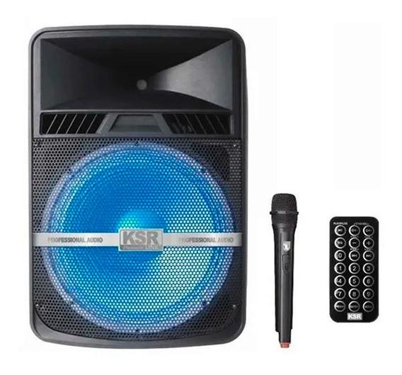 Bocina 18 Recargable Bluetooth Usb Fm Luz Aux Mic 7618