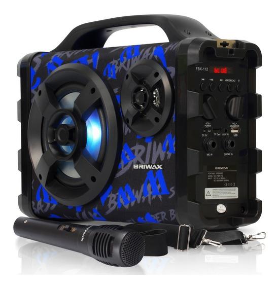 Caixa De Som Portátil Bluetooth 120w Karaoke Microfone Usb