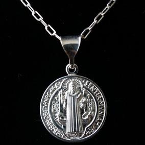 Medalla De Plata De San Benito De1.7cm Incluye Cadena