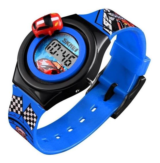 Relógio Infantil Carro Skmei Original Azul Promoção