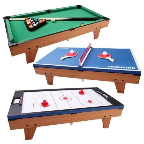 3 En 1 Ping Pong Tenis Mesa De Billar Billar Giratoria -4117
