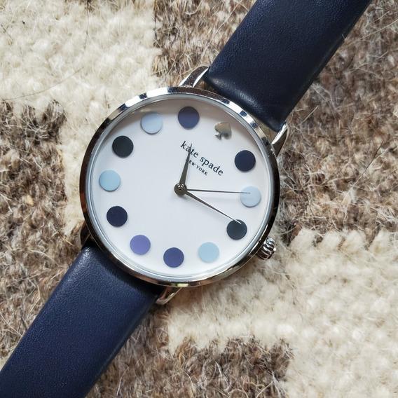 Relógio Kate Spade Ksw1173 Com Pulseira De Couro Marinho