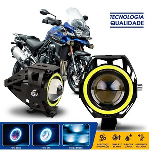 Par Farol Milha Angel Eyes Led Moto Bmw G650 F800 Gs R1200