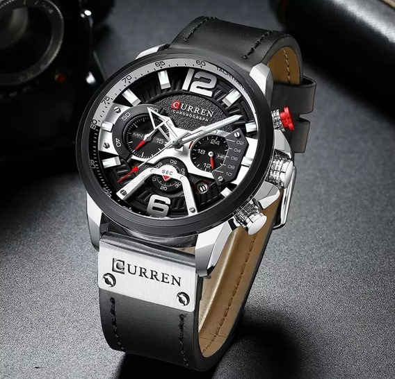 Relógio Masculino Curren Luxo Original Pulseira Couro