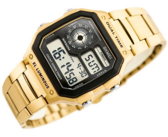 Skmei 1335 Dourado Relogio Retrô-vinta Crono Timer Ae1200