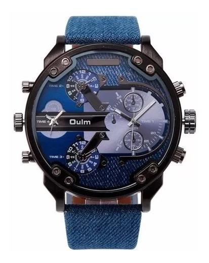 Relógio Masculino Importado Oulm Original Jeans Militar Grande 5,6cm Frete Grátis