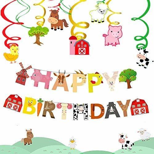 Jevenis Set De 2 Animales De Granja Banner De Cumpleaños Ani