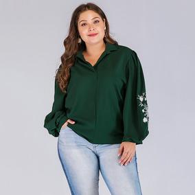 892e84c962 Moda Para Mujer Talla Grande Camisa De Gasa Bordado Floral