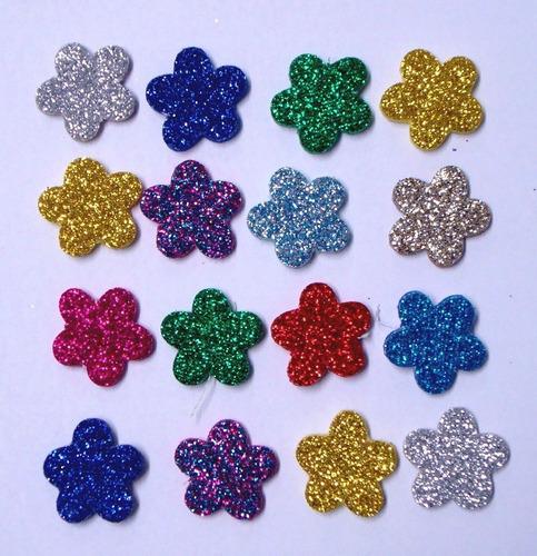 100 Piercings Adesivos Eva Pet Com Glitter - Flor