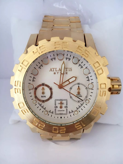 Relógio Atlantis Masculino Dourado Ser.luxo Original A3311