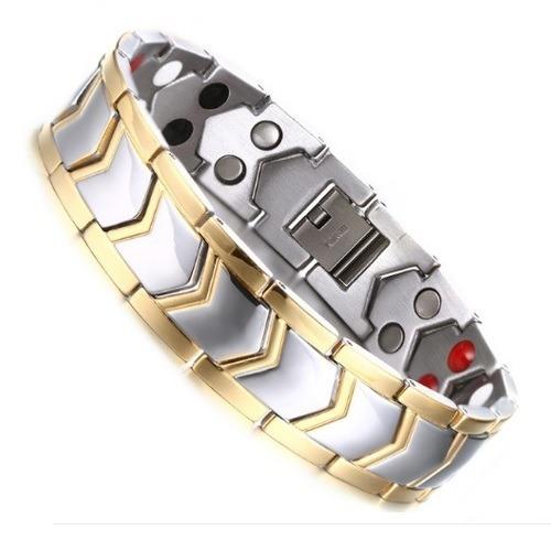 Brazalete Diseño Plata Titanio Titanium Pulsera Magnético