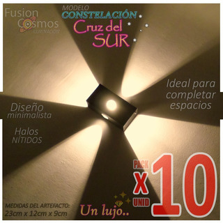 Difusor Aplique Pared Interior Luz Efecto 4 Rayos Pack X 10u Multidireccional Bipin Decoracion Hierro Moderno Interno Fx