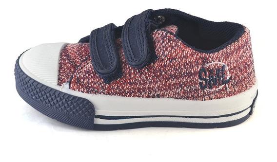 Zapatilla Abrojo Tramado Bordó-azul Small Shoes