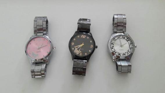 Kit Relógio Feminino Combo 3 Relogios Bronze Dourado