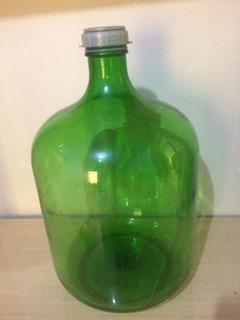 Garrafão De Vidro Antigo Verde Escuro Antiguidade 30 Litros