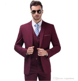 Terno Masculino Slim Azul E Vinho Marsala Sem Colete
