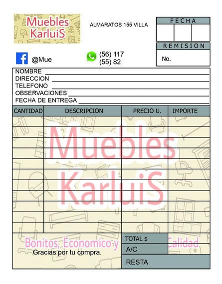 1 Millar De Remisiones, Notas, Recetas 1/4 Carta Papel Auto