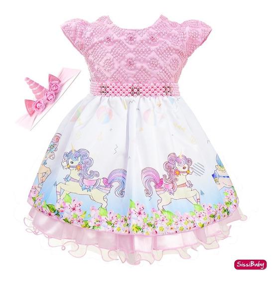Vestido Unicórnio Rosa Festa Infantil Baby Com Faixa Luxo