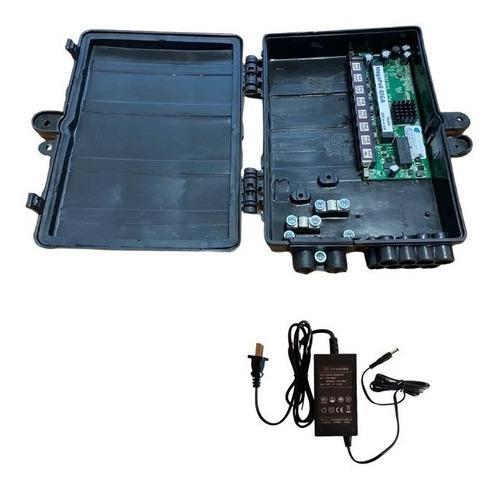 Switch Xwave Megapoe Giga C/fonte 12v2,5a Caixa Herm. P/cftv