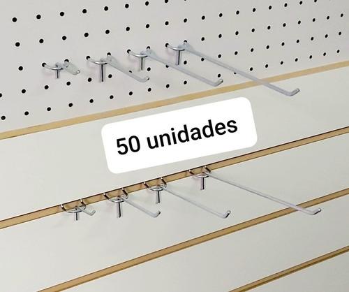 50 Ganchos De 5 Cm Panel Ranurado O Perforado