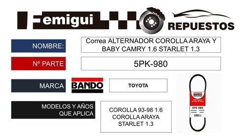 Correa Alternador Corolla Araya Y Baby Camry 1.6 5pk-980 C5y