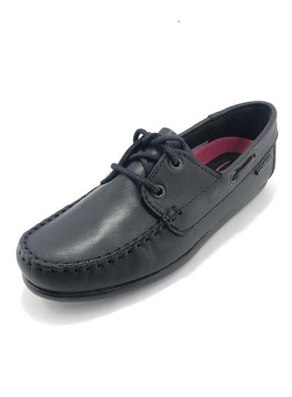 Zapato Náutico Colegial Negro Acordonado De Cuero - Scarpino