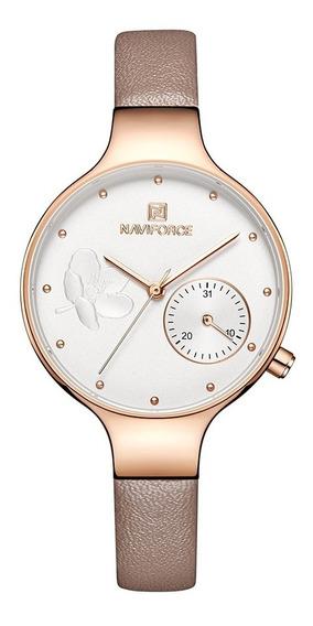 Relógio Feminino Naviforce Fashion Casual Pulseira Couro