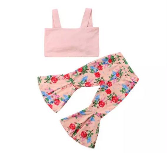 Conjunto Cropped Rosa + Calça Flare Floral