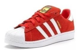 Tênis adidas Superstar Foundation Vermelho Veludo/ Branco