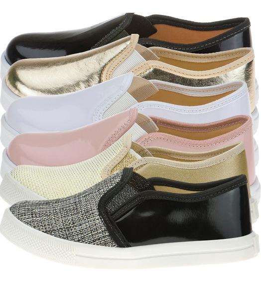 4 Pares Tênis Infantil Feminino Slip On Menina Sem Cadarço Moda Infantil Casual Escolar Criança Sapato Calçados Iate
