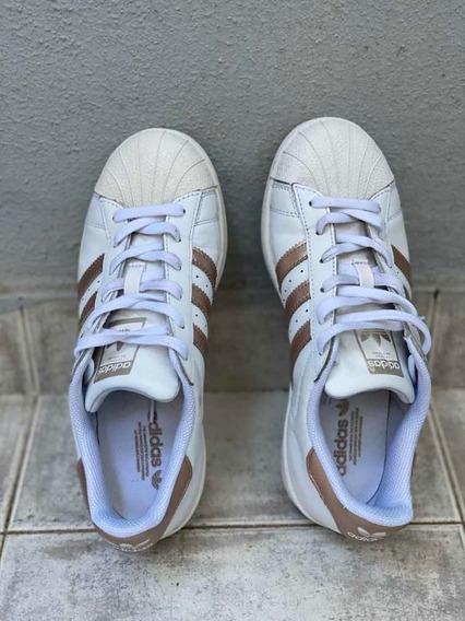 Zapatillas adidas Superstar 37 Blancas Dorado Originales