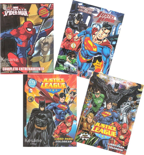 Imagen 1 de 6 de Paquete Libros Colorear Jumbo Batman Superman Super Heroes