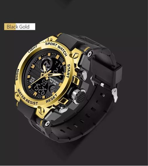 Relógio De Pulso Masculino Funcional Aço Gold + Frete Grátis