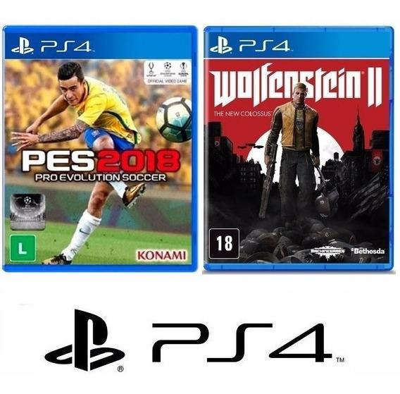 Pes 2018 Futebol + Wolfenstein Ii 2 - Midia Fisica - Ps4