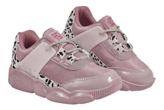 Zapato Tenis Niña Color Rosa Decorado Animal Print Con Aguje