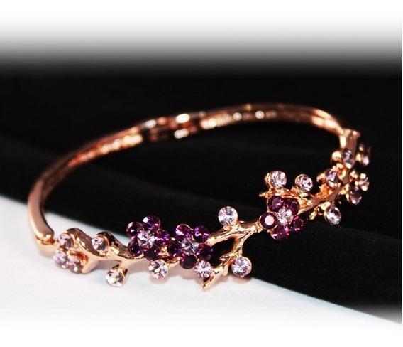 Pulsera De Cristal Flores Púrpura Chapa De Oro Rosa