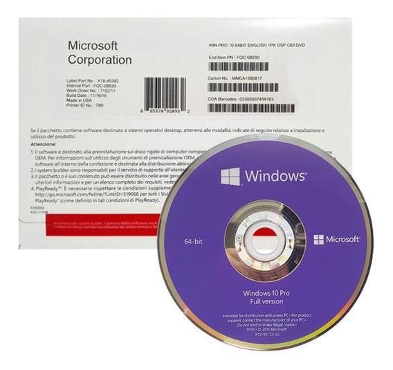 Windows 10 Pro 64b Oem 1pk Español Dvd Microsoft Original