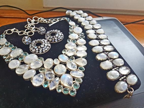 Promoção!!conjunto De Pedras Da Lua Com Topázios Azuis!!