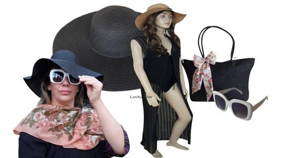 Óculos De Sol Feminino + Chapéu Floppy + Saída + Bolsa Kit